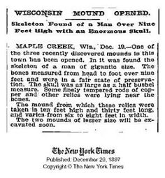 Skeleton over 9 feet tall found with copper rods, Wisconsin mound