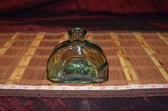 "Small Green Glass Bottle Decorative Mini Vase 4 3/8""x5"""