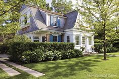 dutch colonial, shingles and shutters, oyster harbors Cottage Homes, Cottage Style, Cottage Interiors, Coastal Cottage, Dutch Colonial Homes, Colonial Cottage, Gambrel Roof, New England Homes, Farmhouse Design