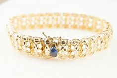 "14 Karat Yellow 7.5"" Bracelet with Cabochon Sapphire - Repair Palace"