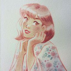 Sunmee Joh, Story artist at Walt Disney Animation Studios « Soft #floralprint #gouache #painting »