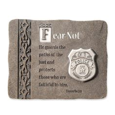 police officer plaque fear not he guards the paths of the just and - Christmas Gifts For Police Officers