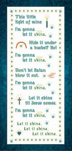 Cross Stitch Borders This Little Light of Mine - Children's Song - Cross Stitch This Little Light of Mine - Children's Song Cross Stitch Borders, Cross Stitch Charts, Cross Stitch Designs, Cross Stitching, Cross Stitch Embroidery, Embroidery Patterns, Cross Stitch Patterns, Children's Church Songs, Church Music