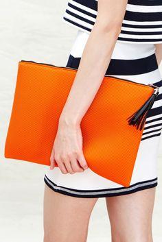 Orange Sporty Mesh Clutch