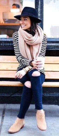 summer outfits  Striped Knit + Navy Destroyed Skinny Jeans