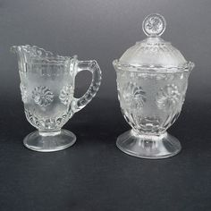 EAPG 1 pint Creamer and Covered Sugar, Roman Rosette by Bryce & Walker 1875, US Glass 1892-98, Antique Pressed Pattern Glass, Footed Set by LiliesLegacies on Etsy