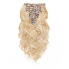 120g 18 Inch #27/613 Body Wavy Clip In Hair