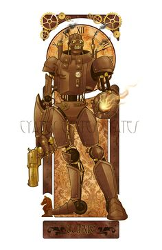 """*dies a horrible death just thinking about how long this took* I . """"dislike"""" drawing mechanical th. Steampunk Font, Steampunk Robots, Steampunk Artwork, Steampunk Theme, Style Steampunk, Steampunk Design, Steampunk Diy, Robot Illustration, Illustrations"""