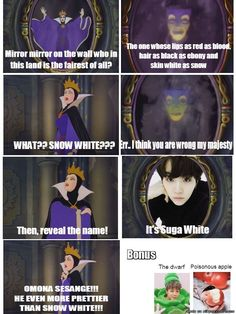 Suga White XD XD XD new Snow white XD BTS