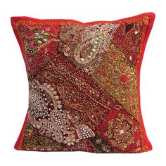 "16"" Indian Cotton Beaded Patch Work Handmade Traditional Pillow Cushion Cover p3 #JunedCraftPalace #ArtDecoStyle"