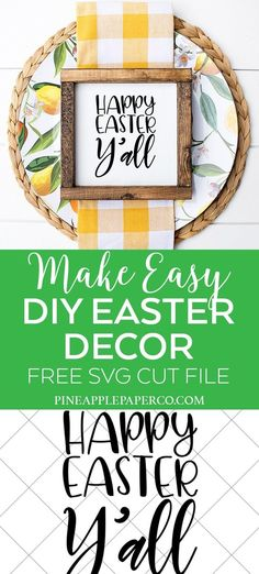 Free Happy Easter Y'all SVG for Cricut and Silhouette Crafts including Easter Decorations and Easter Shirts - Free Easter SVG Files by Pineapple Paper Co. and more bloggers! #cricut #cricutmade #silhouette #freesvgs #svg #svgfiles #freeeastersvg #easterdecor #diyeaster