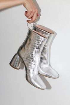 Let us Introduce: Ellery Class Ankle Boot in Silver Elaphe Designing Women, Designer Shoes, Minimal, Ankle, Boots, Silver, Shopping, Fashion, Crotch Boots