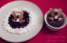 Groundhog Day Chocolate pudding* 3 vanilla wafers, edible eyes, choclate icing.Can whipped cream ,1 chocolate chip & 1 mini marshmallow. Spread chocolate pudding on plate.Decorate with 1 vanilla wafer & white chips for eyes(dot with chocolate icing, using a toothpick) chocolate chip nose & cut a mini marshmallow for teeth. Cut 1 vanilla wafer to make ears & feet.Attach all with icing.