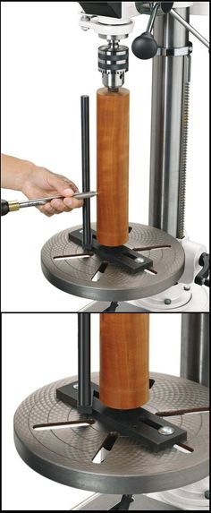 Lathe Attachment for Multi Speed Drill Press  ( Fox D4088 ) allows wooden workpieces to be turned on a drill press in the same manner as a wood lathe, only vertically rather than horizontally. Items like small pickets, legs, spindles, candle holders, salt and pepper shakers, handles, dowels, and pins can be made.    http://www.amazon.com/D4088-Lathe-Attachment-Drill-Press/dp/B005W16YJS
