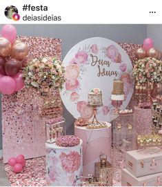 21st Birthday Themes, 21st Birthday Decorations, Balloon Decorations, Flower Decorations, Birthday Parties, Wedding Decorations, 18th Party Ideas, Cake Shop Design, Rose Gold Decor