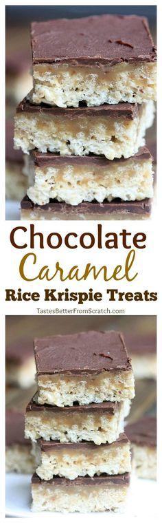 Chocolate Caramel Rice Krispie Treats from TastesBetterFromScratch.com