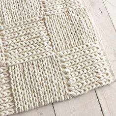 Baby Knitting Patterns Knitting Pattern for Easy Cable Blanket - This pattern from . Knit Rug, Wool Rug, Knit Crochet, Knitted Afghans, Knitted Blankets, Easy Knit Blanket, Square Blanket, Knitted Bags, Loom Knitting