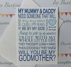 WILL YOU BE My Godmother (other variations avaialble) cards Friends + Family