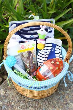 Babys first easter basket ideas for a 7 month olds easter basket infant and newborn easter basket ideas negle