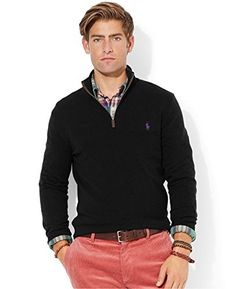 Polo Ralph Lauren Mens Half Zip Mock Neck Cotton Sweater           Polo Sweaters Product Features 100% cotton. Half zip front with leather pull tab. Ribbed mockneck collar. Ribbed hem and sleeve cuffs. Embroidered polo pony logo on chest. Polo Sweaters Product Description Polo Ralph Lauren mens half zip sweater. 100% cotton. Machine washable. Imported. Related Polo Sweaters Products  http://www.freesweaters.com/polo-ralph-lauren-mens-half-zip-mock-neck-cotton-sweater-32/