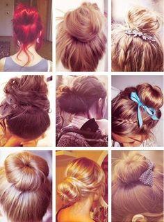 cute buns ♥ - The Beauty Thesis Bun Hairstyles, Pretty Hairstyles, Wedding Hairstyles, Hairstyle Names, Style Hairstyle, Updo Hairstyle, Latest Hairstyles, Types Of Hair Bun, Cute Buns