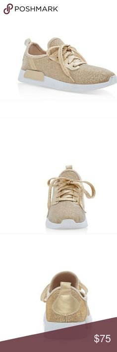 🆕 Trendy Glitter Gold Sneakers Designer Inspired. Size 8. Only pair. Super comfy & on trend! Shoes Sneakers