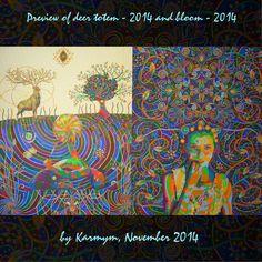 Progress on my next two paintings Ture Love, Visionary Art, Deer, Bloom, Tapestry, Paintings, Instagram Posts, Artwork, Flowers