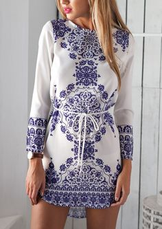 Blue Long Sleeve With Belt Vintage Print Dress