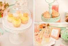 Love the coral, sea green and lemon colour palette of this dessert table.  maybe colors for a room?