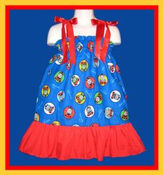 Thomas The Train Boutique Pillowcase Dress w/ Red Solid Layer Sizes: Toddlers Girls on Etsy, $25.62 AUD