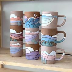 Home Callahan ceramic cups are really amazing! - Home Callahan ceramic mugs are really amazing! Ceramic Cups, Ceramic Pottery, Ceramic Art, Slab Pottery, Pottery Vase, Ceramics Pottery Mugs, Painted Ceramics, Porcelain Ceramic, Pottery Plates