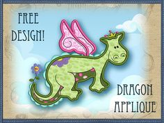 This free embroidery design is a dragon applique.  Love it!