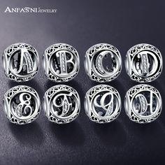 ANFASNI Authentische 925 Sterling Silber Vintage Klar Bead Charms Fit  Ursprüngliche Pandora Frauen Charme Armbänder Silber bfe36b150995f