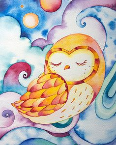owl watercolor illustration