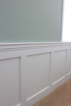The cleaner lines of this dining room wainscoting appeal to a less formal approach. The picture frames version just seems a bit fussy. Hard to decide whether to go classic or nouveau.