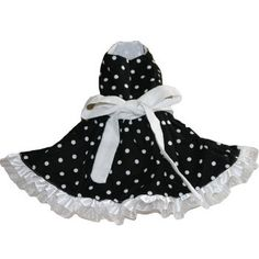 Black, white, polka dot dog dress