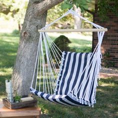 The Ultimate Padded Mesh Hanging Chair   Navy Stripes   81753    TXLN NAVYSTRIPES