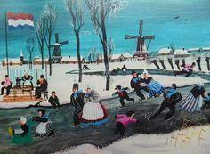 Schaatsen in klederdracht, oude kaart van Wim Bijmoer