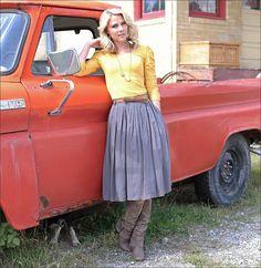 Grey Pleated skirt mustard top : Mikarose Fashion, Reinventing Modest Fashion
