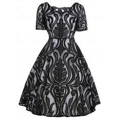 b4b8d8f1278 2018 Lace Panel V Neck Bowknot Vintage Dress BLACK S In Vintage Dresses  Online Store.