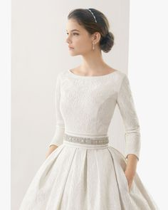 This is almost exactly how I want my wedding dress to look! #modestgown #pockets More