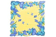 VINTAGE HANKIE Butterflies Blue & Aqua Butterfly by CUSHgoods
