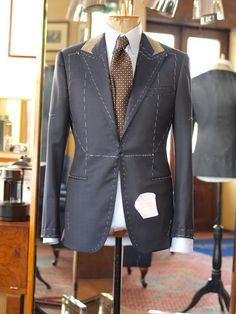 A basted coat moving towards the final basted fitting. Bespoke Suit, Bespoke Tailoring, Fitted Wedding Suits, Suit Jacket With Jeans, Tailoring Techniques, Business Casual Dresses, Savile Row, Suit And Tie, Suit Fashion