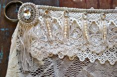 Vintage Style Tribal Belly Dance Belt in Cream / White with Lace and Pearls