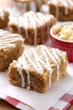 Maple Glazed Apple Peanut Butter Bars {Whole Wheat} - A Kitchen Addiction