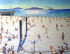 La plage des Catalans-Huile sur toile (130x102 cm)- Edmond Astruc