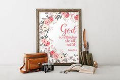 Bible verse, Scripture art, Wall decor, God is within her, Bible verse, printable art, She will not fall, Nursery printable scripture BD-979