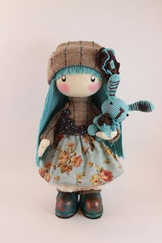 Doll Zooey long hair brown and turquoise rag by DollsLittleAngels
