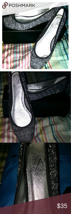 New Adrianna Papell Flats Brand new with box.  Got as a gift and don't need it. Beautiful midnight silver black dusk gray color with a shimmering accent. Very comfortable footbed. Adrianna Papell Shoes Flats & Loafers