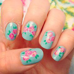 spring floral rose nail art